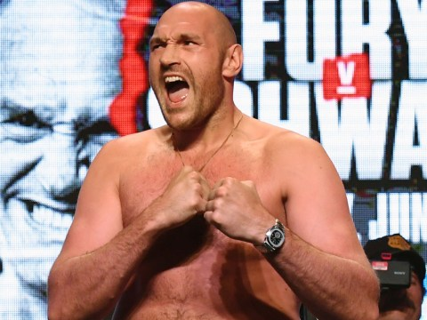 Tyson Fury tells Tom Schwarz his fight prediction during intense face-off