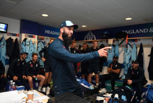 England's Moeen Ali watches a congratulatory message from Liverpool legend Steven Gerrard ahead of the Cricket World Cup match against Sri Lanka
