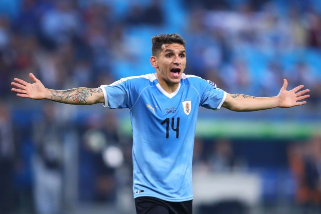 PORTO ALEGRE, BRAZIL - JUNE 20: Lucas Torreira of Uruguat reacts during the Copa America Brazil 2019 group C match between Uruguay and Japan at Arena do Gremio on June 20, 2019 in Porto Alegre, Brazil (Photo by Chris Brunskill/Fantasista/Getty Images)