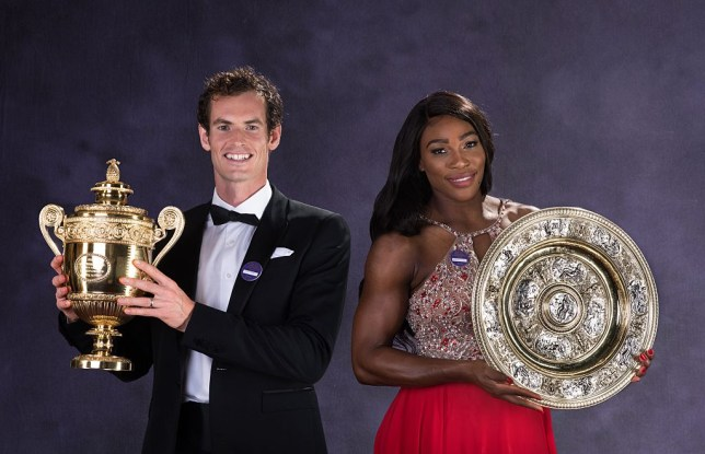 Andy Murray and Serena Williams stand with their Wimbledon trophies