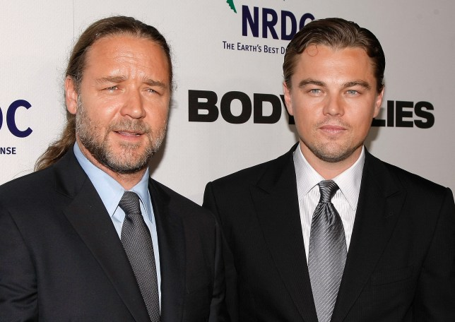 Russell Crowe and Leonardo DiCaprio at Body Of Lies premiere