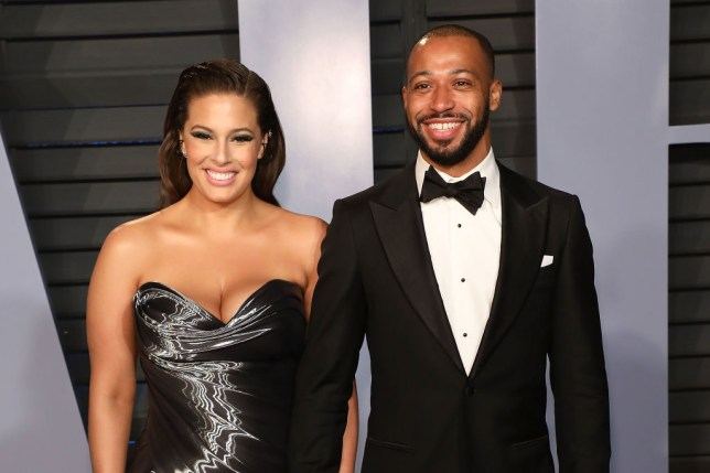 Justin Ervin and Ashley Graham attend the 2018 Vanity Fair Oscar Party