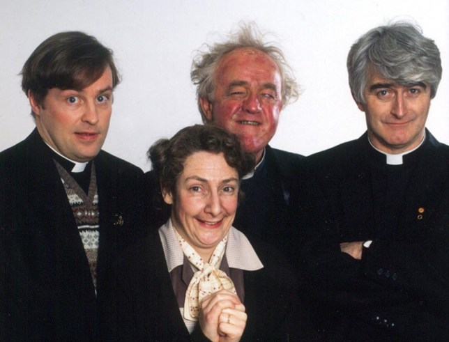 TELEVISION PROGRAMME 'FATHER TED II'. FATHER TED II FATHERS - Dougal (Ardal O'Hanlon), Jack (Frank Kelly (1938-2016)) and Ted (Dermot Morgan) (1952-1998) with Pauline McLynn as Mrs Doyle. This picture may be used solely for Channel 4 programme publicity purposes in connection with the current broadcast of the programme(s) featured in the national and local press and listings. Not to be reproduced or redistributed for any use or in any medium not set out above (including the internet or other electronic form) without the prior written consent of Channel 4 Picture Publicity 020 7306 8685