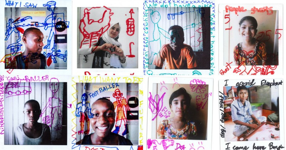 Refugee children draw their hopes and fears on polaroid portraits