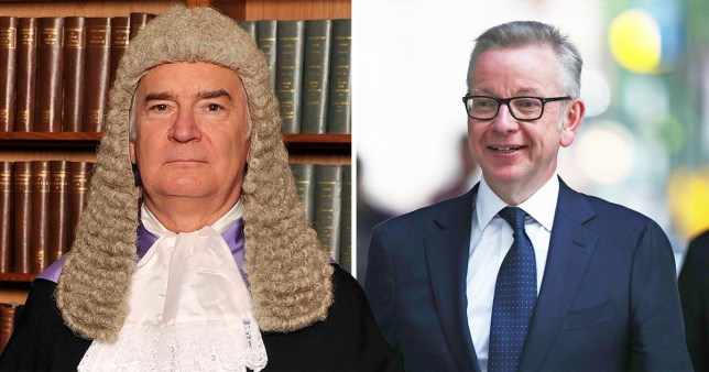 Picture of Judge Owen Davies QC (left) next to picture of Environment Secretary Michael Gove who is running as a Conservative Party leadership contender.