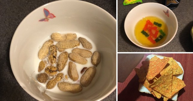 Depression meals showing peanut cereal, nacho sandwich and sweets in juice