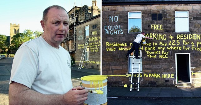 Resident vents anger at council's parking fee hike by painting complaints on his own house