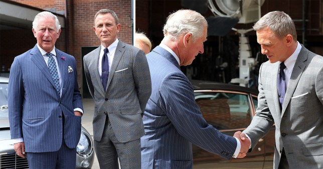 Prince Charles, Prince of Wales with actor Daniel Craig during a visit to the James Bond set at Pinewood Studios