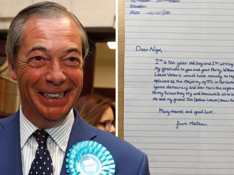 No one believes letter praising Nigel Farage was written by 10-year-old
