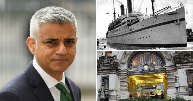 Comp of Sadiq Khan, The Empire Windrush ship and Waterloo Station