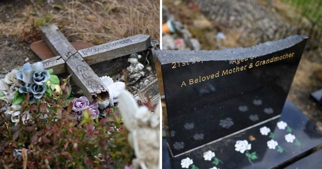 Gravestones and memorials smashed in half by vandals