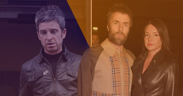 Noel Gallagher on the left, and Liam Gallagher with his girlfriend Debbie Gwyther on the right