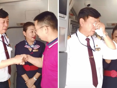 Retiring pilot bursts into tears after landing final flight of his career