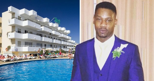 Comp of  Jet Apartments in Play d'en Bossa next to Carl Shepherd Liverpool, of Mitcham, south west London, who fell off one of the hotel's balconies after falling asleep