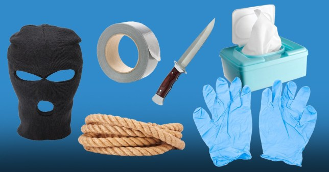 Balaclava, tape, rope knife, latex gloves and wipes. Items similar to these were brought to the scene - court hears
