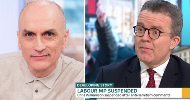 Split of Labour MP for Derby North Chris Williamson next to Labour deputy leader Tom Watson being interviewed about Williamson's suspension over antisemitism comments