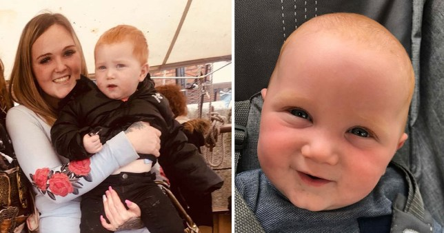 Picture of Chelsey Wall and her son T-Jay Dedman next to a single picture of T-Jay, two, who died after falling from a faulty window in the Tuebrook area of Liverpool