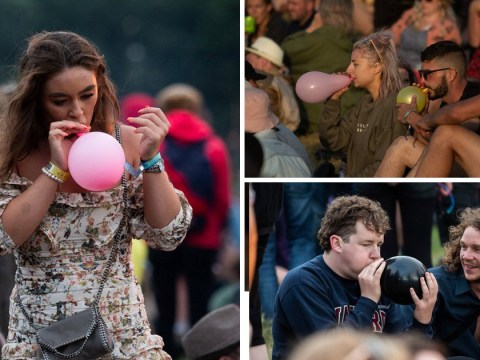 "Glastonbury weather looks great so everyone's partying by ""blowing up balloons"""
