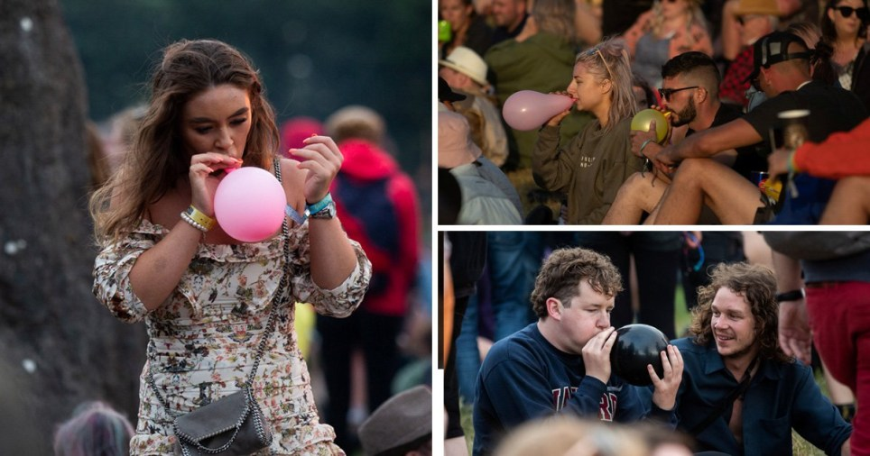 Glastonbury weather looks great so everyone\'s partying by blowing up balloons
