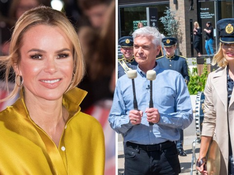 Phillip Schofield and Holly Willoughby brush off Amanda Holden rumours with some drumming just because