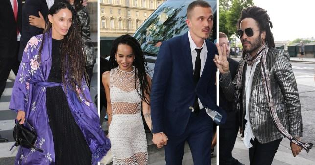 Lisa Bonet, Lenny Kravitz and Zoe Kravitz and Karl Glusman in Paris for wedding