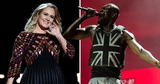 Adele and Stormzy performing at Glastonbury festival