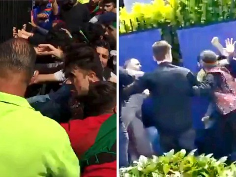 Rival cricket fans clash outside Pakistan v Afghanistan World Cup game