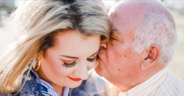 Alexis and Charles, who have a 55-year age gap, kiss