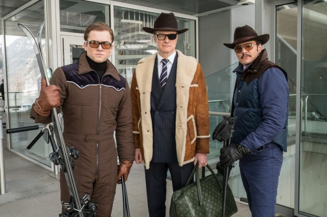 """Editorial use only. No book cover usage. Mandatory Credit: Photo by G Keyte/20th Century Fox/Kobal/REX (9068358q) Taron Egerton, Colin Firth, Pedro Pascal """"Kingsman: The Golden Circle"""" Film - 2017"""