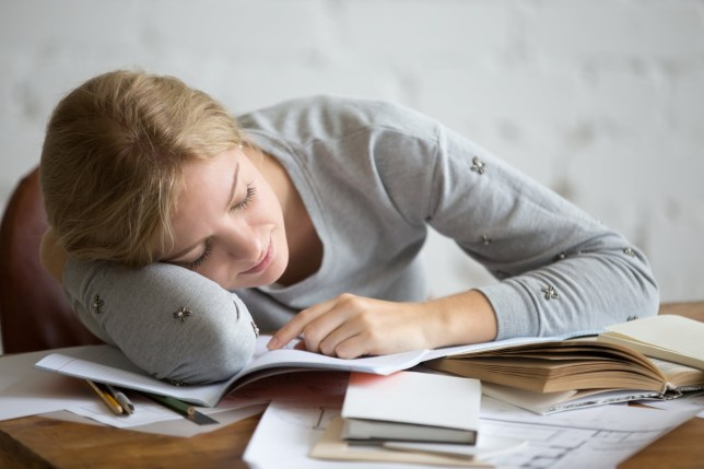 A picture of a girl falling asleep