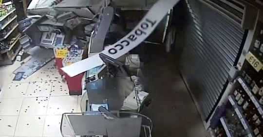 Pictured: The raid on Tesco, Kingsworthy. Dramatic footage shows a gang using diggers to smash into store fronts to steal ATMs in a 'relentless' ram-raid spree across three counties. The brazen criminals slammed through the front walls of 11 stores, service stations and banks during the five-month spree, causing ?900,000 of damage. A court heard the gang of three men destroyed shops across three counties on the South Downs and stole more than ?500,000 by ripping out cash machines. CCTV footage of the late-night raids shows them ploughing into the buildings using diggers and heavy machinery which were stolen from nearby farms and building sites.