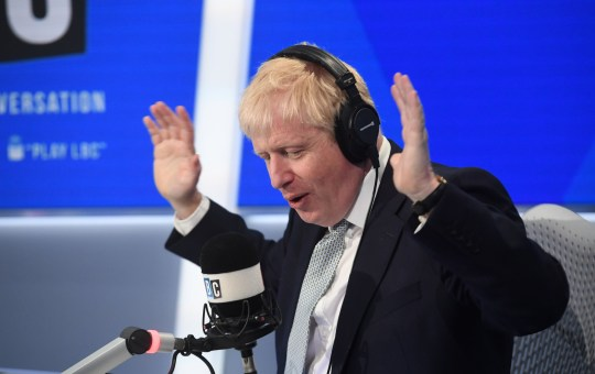 Conservative party leadership candidate Boris Johnson taking part in a radio interview with Nick Ferrari at LBC in central London. PRESS ASSOCIATION Photo. Picture date: Tuesday June 25, 2019. See PA story POLITICS Tories. Photo credit should read: PA Wire