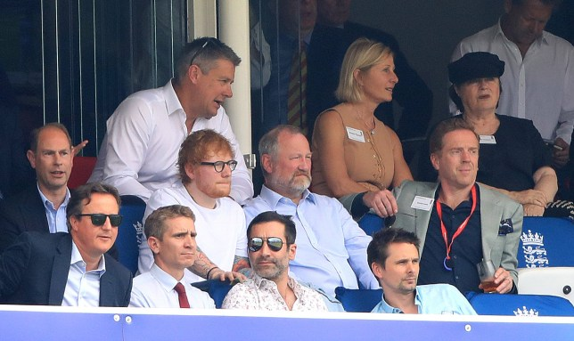 Prince Edward, David Cameron, Ed Sheeran, Matt Bellamy and Damian Lewis in the stands during the ICC Cricket World Cup