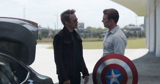 Robert Downey Jr. and Chris Evans as Iron Man and Captain America in Avengers: Endgame
