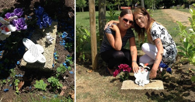 Mum found baby's headstone kicked after vandals tried to 'dig up' grave