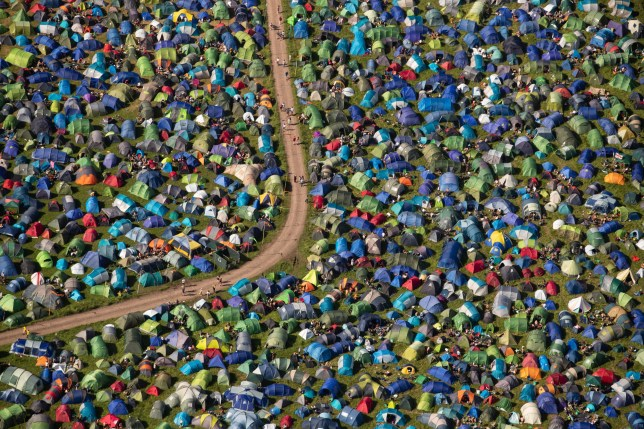 An aerial view of tents at the camping site on the second day of the Glastonbury Festival at Worthy Farm in Somerset