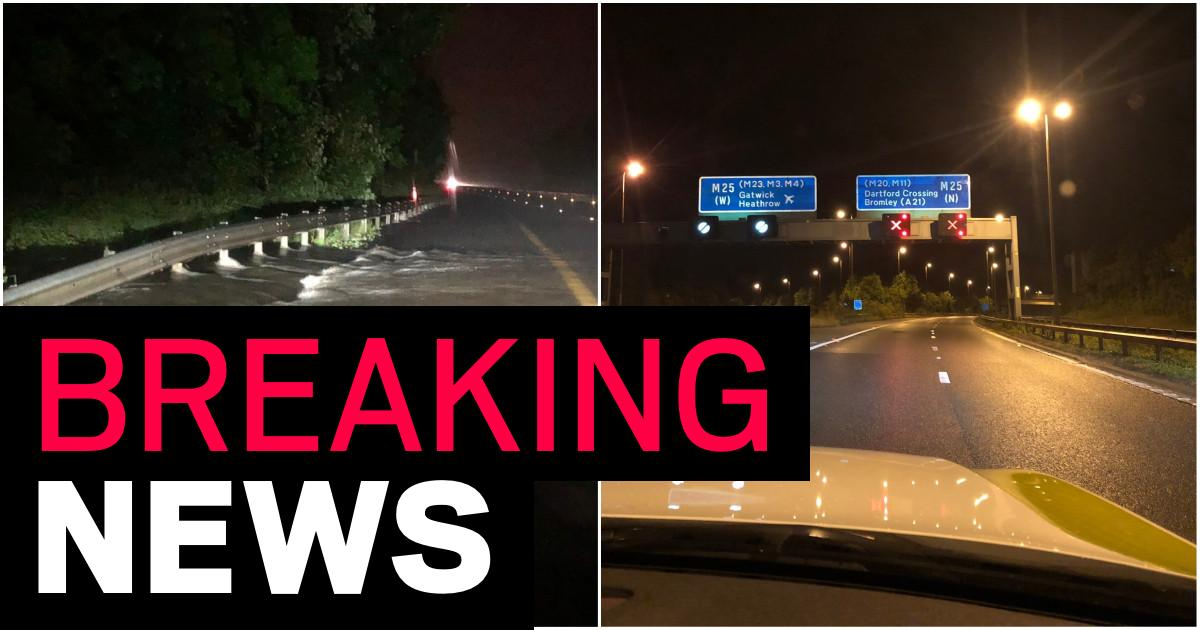 Uk Weather Heavy Rain Closes M25 And London Trains Shut