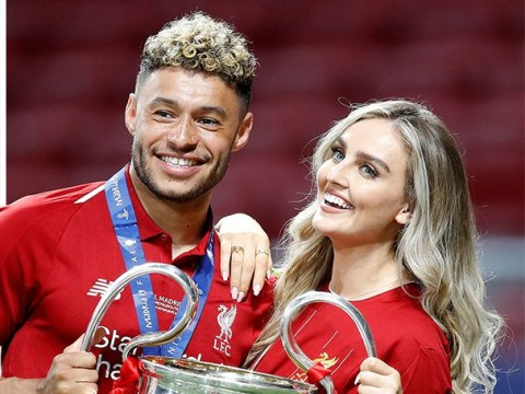 Little Mix star Perrie Edwards beams with boyfriend Alex Oxlade-Chamberlain as they celebrate Liverpool's Champions League Final win