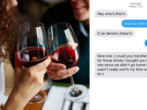 Man asks woman to transfer money for drinks he bought because she didn't sleep with him