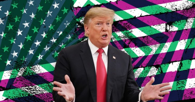 Donald Trup with the US flag in the background and a colour overlay in purple and green