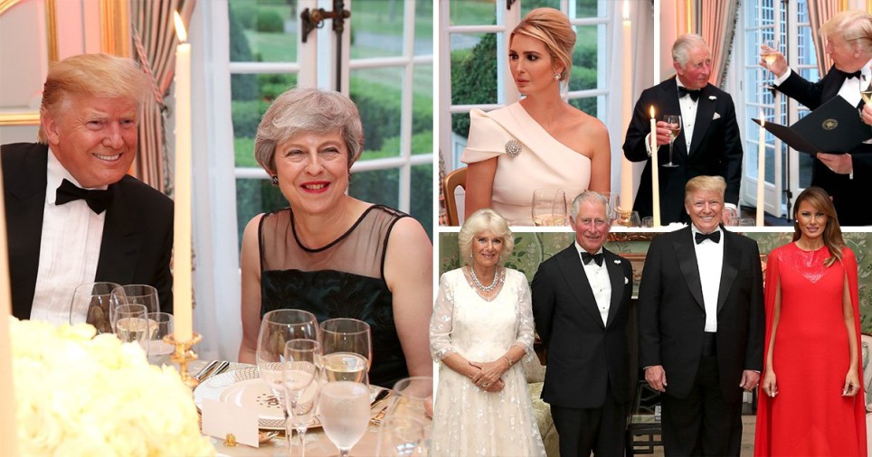 Donald and Melania Trump host intimate 'thank you' dinner for guests including Theresa May, Prince Charles and Camilla