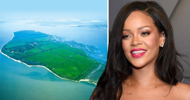 Rihanna with Osea Island off the coast of Essex in Blackwater River which she is reportedly renting