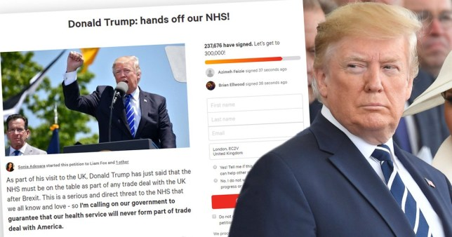 Over 240,000 have signed a petition telling Trump 'hands off our NHS'