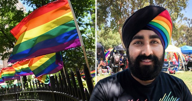 Picture of Pride rainbow flats (left) next to picture of Jiwandeep Singh Kohli who inspired people from across the world with his LGBTQ headgear