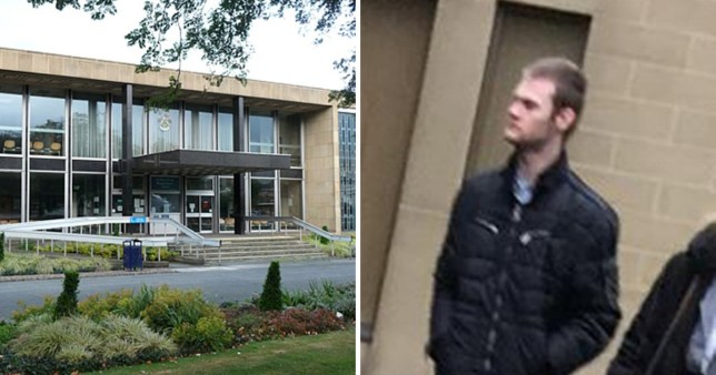 Kirklees Magistrates' Court, Huddersfield (left ) next to picture of paedophile John Walker who was given a community order after police found 800 child abuse images on his devices at his home in Cleckheaton, West Yorkshire.