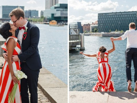 Bride and groom wear national flag colours for wedding then jump into canal after saying I do