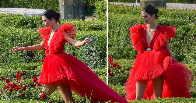 Kendall Jenner is lady in red tip-toeing in maze for H&M and Giambattista Valli photoshoot