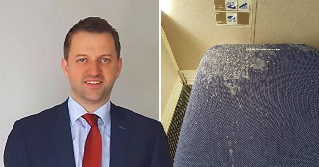 Businessman Dave Gildea who was forced to sit in a seat with vomit on it during a 10 hours British Airways flight from London to Seattle. Next to a picture he shared on Twitter of the vomit covered footrest.