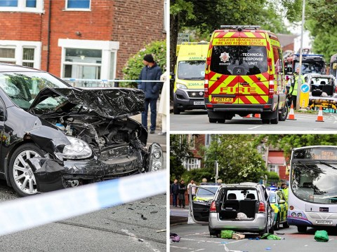 Man, 42, dies and boy, 13, fighting for life after horror crash in Manchester