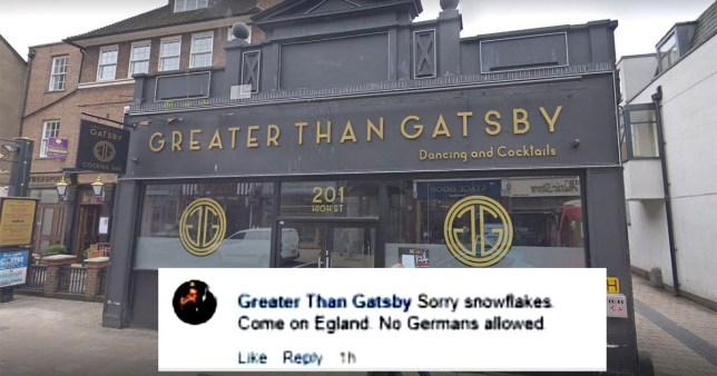 The Greater Than Gatsby previously posted a sign in its window that banned punters from wearing hoodies (Picture: Google Map/Facebook)